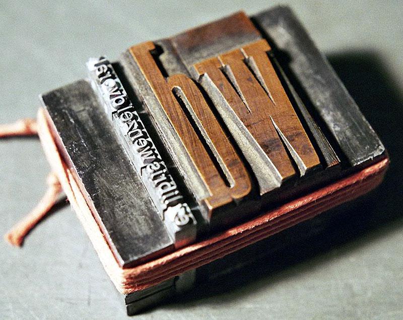 Druckform aus Holz- und Bleilettern für ein typografisches Exlibris