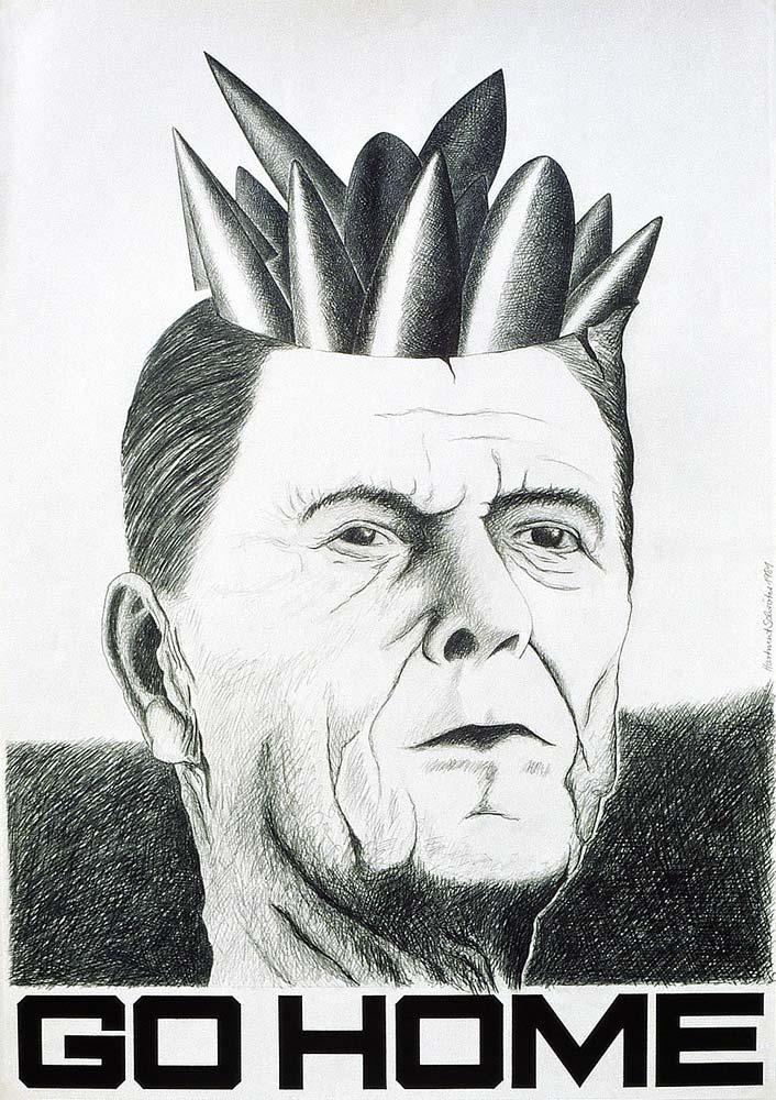 Reagan Go Home — Plakat zum Deutschlandbesuch des US-Präsidenten 1982