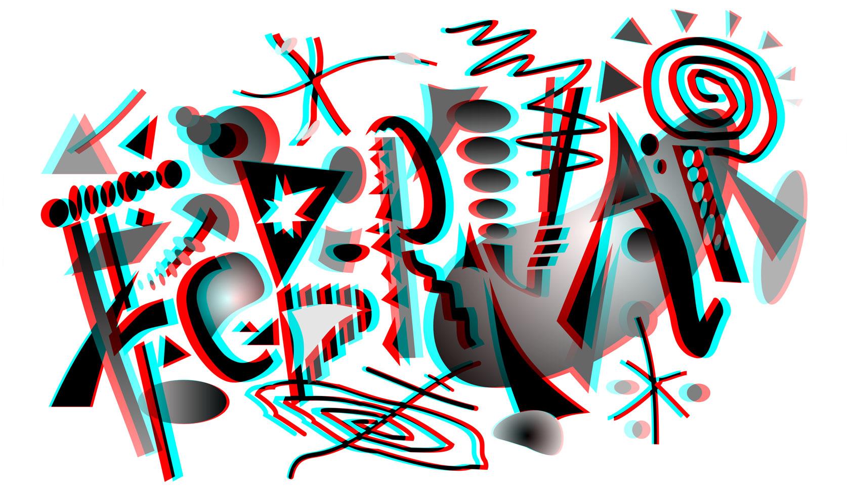 Eine Stereografik als Anaglyphenbild